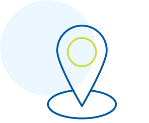 Map pinpoint icon outlined in blue and green.