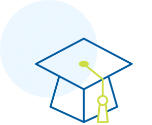 Mortarboard icon outlined in blue and green.