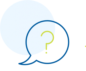 Speech bubble icon outlined in blue with a green question mark in the center.