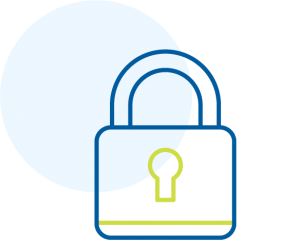 Lock icon outlined in blue and green.
