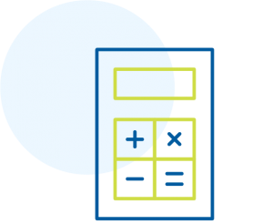 Calculator icon outlined in blue and green.