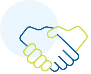 Shaking hands icon outlined in blue and green.