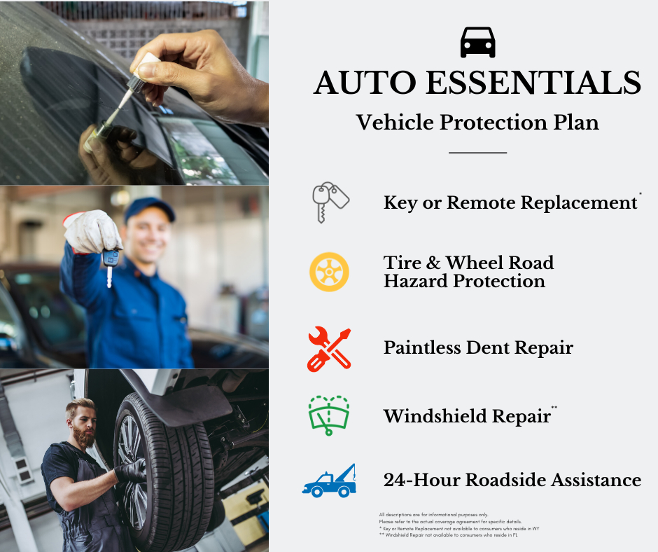 "A graphic with a grey background and three auto repair photos stacked vertically along the left side. The text says ""Auto Essentials Vehicle Protection Plan: Key or remote replacement, tire & wheel road hazard protection, paintless dent repair, windshield repair, 24-hour roadside assistance."""